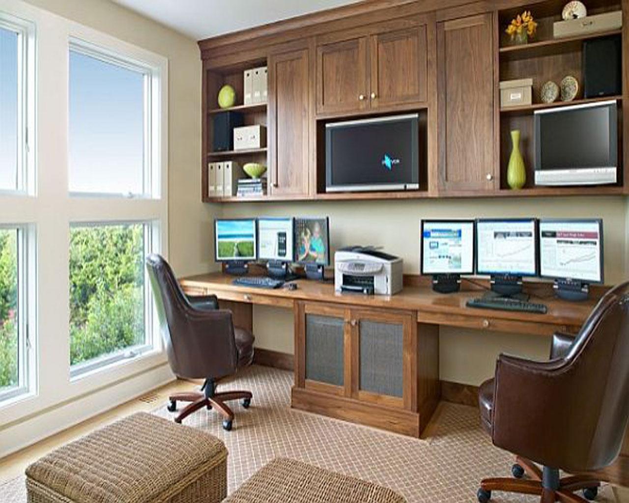 مكتب منزلي مزدوج